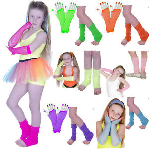 GIRLS-NEON-LEG-WARMERS-amp-FISHNET-GLOVES-FANCY-DRESS-PARTY-TUTU-ACCESSORIES