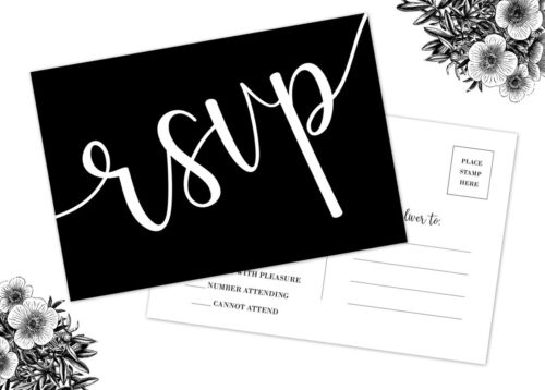 50 RSVP Cards Wedding Black and White Printing No Envelopes Required