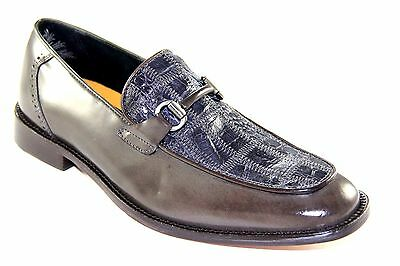 Stacy Adams Myles Men's Slip On Gray Caiman Leather Dress Shoes 24526-020
