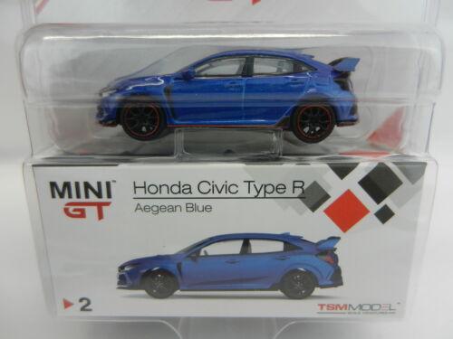 2018 TSM MODELS MINI GT = AEGEAN BLUE Honda Civic Type R *DIECAST* NIP!