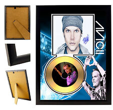 AVICII  - A4 SIGNED FRAMED GOLD VINYL COLLECTORS CD DISPLAY  PICTURE