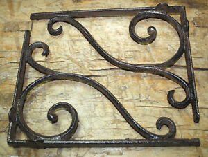 4 Cast Iron Antique Style LARGE SCROLL Brackets Garden Braces Shelf Bracket