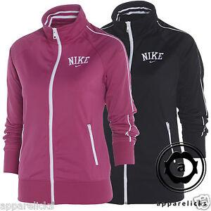 Nike-Women-039-s-Full-Zip-Tracksuit-Top-Sweatshirt-Black-Pink-All-Sizes-515114