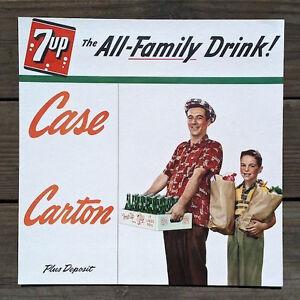 Original-7-UP-FRESH-UP-SODA-Family-Dad-Son-Cardboard-Sign-1948-Unused-LAST-ONE