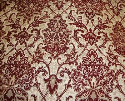 """SAMPLE Chenille Damask 57"""" Wide Crimson Upholstery  Drapery fabric sold BTY"""