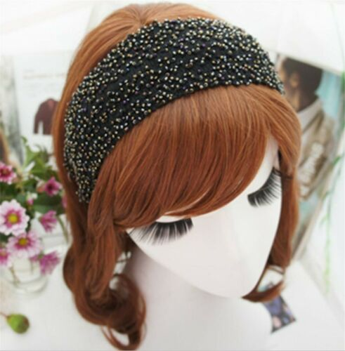 Women Boho Retro Black Beaded Party Wide Hair head band Headband Hoop bandana