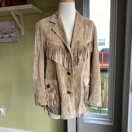 Ralph Lauren Tan Suede Leather Fringe Southwestern