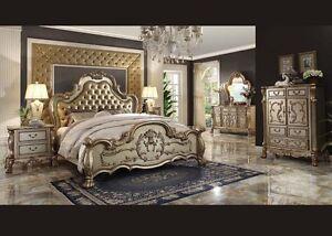 Formal Luxury Antique Dresden Gold Queen Size 4 Pcs Bedroom Set Furniture