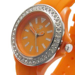 Reflex-Ladies-Watch-Rubber-Strap-Diamante-Orange-Bargain