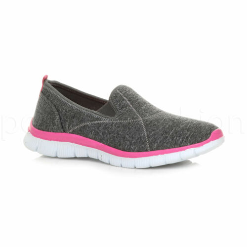 Womens ladies memory foam plimsolls comfort trainers sneakers gym shoes size