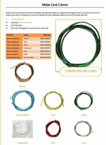 7 Farben Tubing schlank Mylar Cord brillant Semperfli MYLAR CORD Ø 1,6mm 1 Mtr