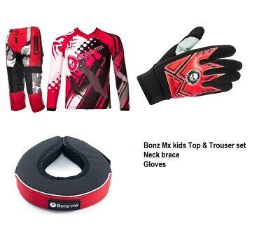 Bonz Mx Kids Quad Dirt Motocross Bmx Enduro Childrens Jersey Top 3-4yrs, BLUE//CHILD