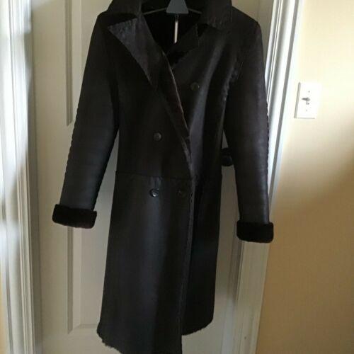fendi leather/ shearling full lenght coat