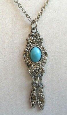 Vendita Calda Pendentif Collier Chaîne Couleur Vieil Argent Perle Turquoise Bijou Vintage 4493