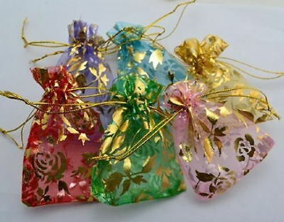 WHOLESALE MIXED COLOR WEDDING SILK JEWELRY ORGANZA POUCH GIFT 100mmX130m 50pcs