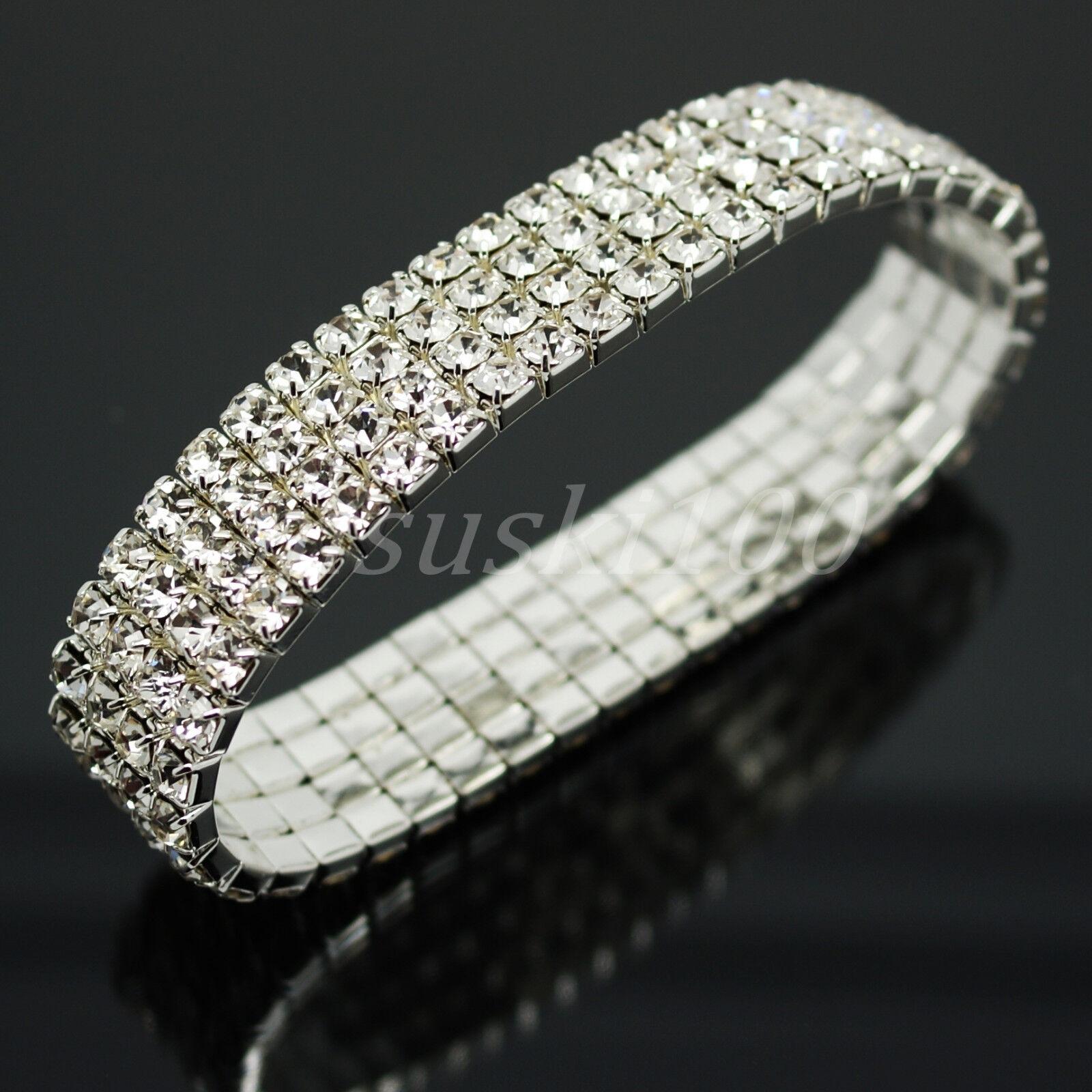 9dc1a1f6aab7 Detalles de Diamante Pulsera Cristal Pedrería Elástico Pulsera 44 Destello  Gemas en Uno Fila