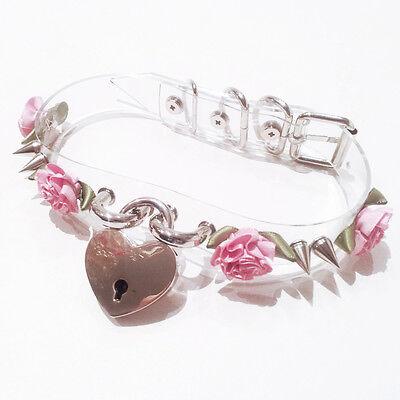 Handmade Punk Emo Spike Stud Flower Clear Safe Heart Collar Choker Key Necklace
