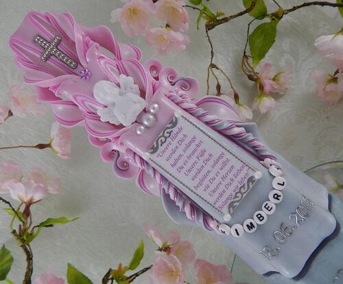 Taufkerze Kommunionkerze geschnitzt rosa mit Engel Name Datum für Mädchen