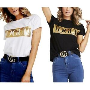 Ladies Womens Vogue Gold Foil print Slogan Round neck Short sleeve T Shirt New