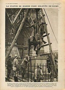 """Statue Jeanne d'Arc de Paul Dubois Reims Poilus/Cuirassé Requin Canal 1918 WWI - France - Commentaires du vendeur : """"OCCASION"""" - France"""