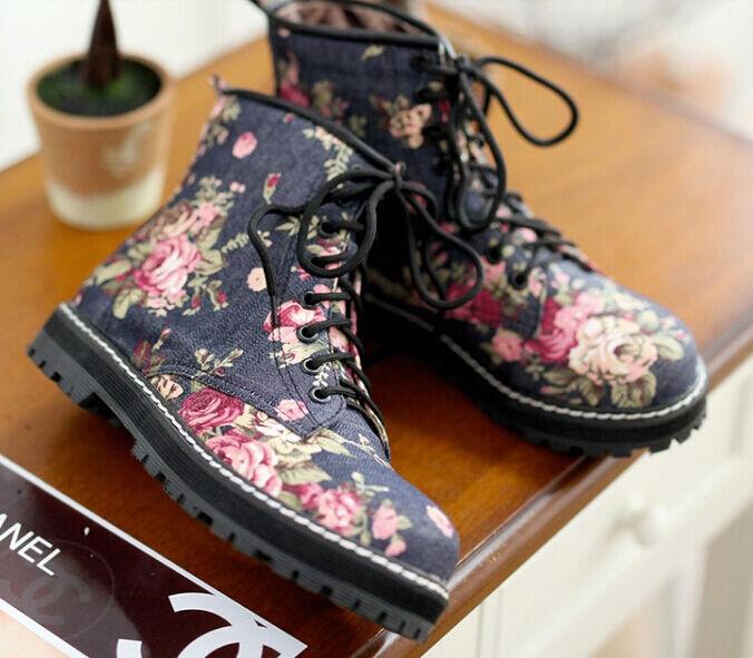 Bottes bottes confortable rangers femme talon 1 cm bleu motif à fleurs 8760