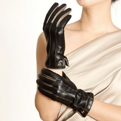 ELMA Winter Super warm Nappa leather Gloves Cashmere Lining  Gold Plated Logo