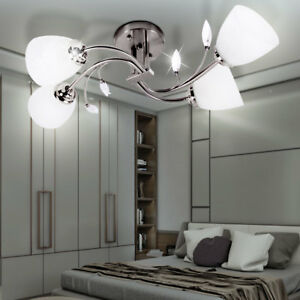 applique luminaire mural clairage plafonnier acier 4 spots verre blanc chambre ebay. Black Bedroom Furniture Sets. Home Design Ideas