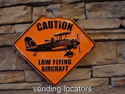 NEW CAUTION LOW FLYING AIRCRAFT METAL SIGN  MAN CAVE GARAGE AVIATION AIRPLANE