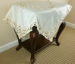 Square Embroidered Floral Polyester 54x54 End Coffee Table