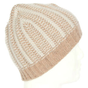 NEW-J-CREW-Lovely-Brown-Gray-Striped-Beanie-Hat-Cap-One-Size-NWT