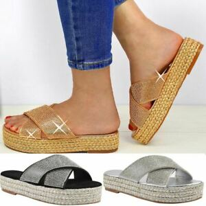 Womens-Diamante-Slip-On-Sandals-Flatforms-Sparkly-Platform-Summer-Size-UK