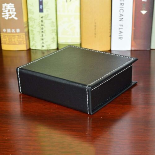 New Sticky Memo Note Desk Organiser Box Business Leather Name Cards Storage Case