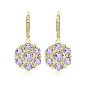 Flower-Amethyst-amp-White-Topaz-Dangle-Earrings-in-Gold-Plated-Sterling-Silver
