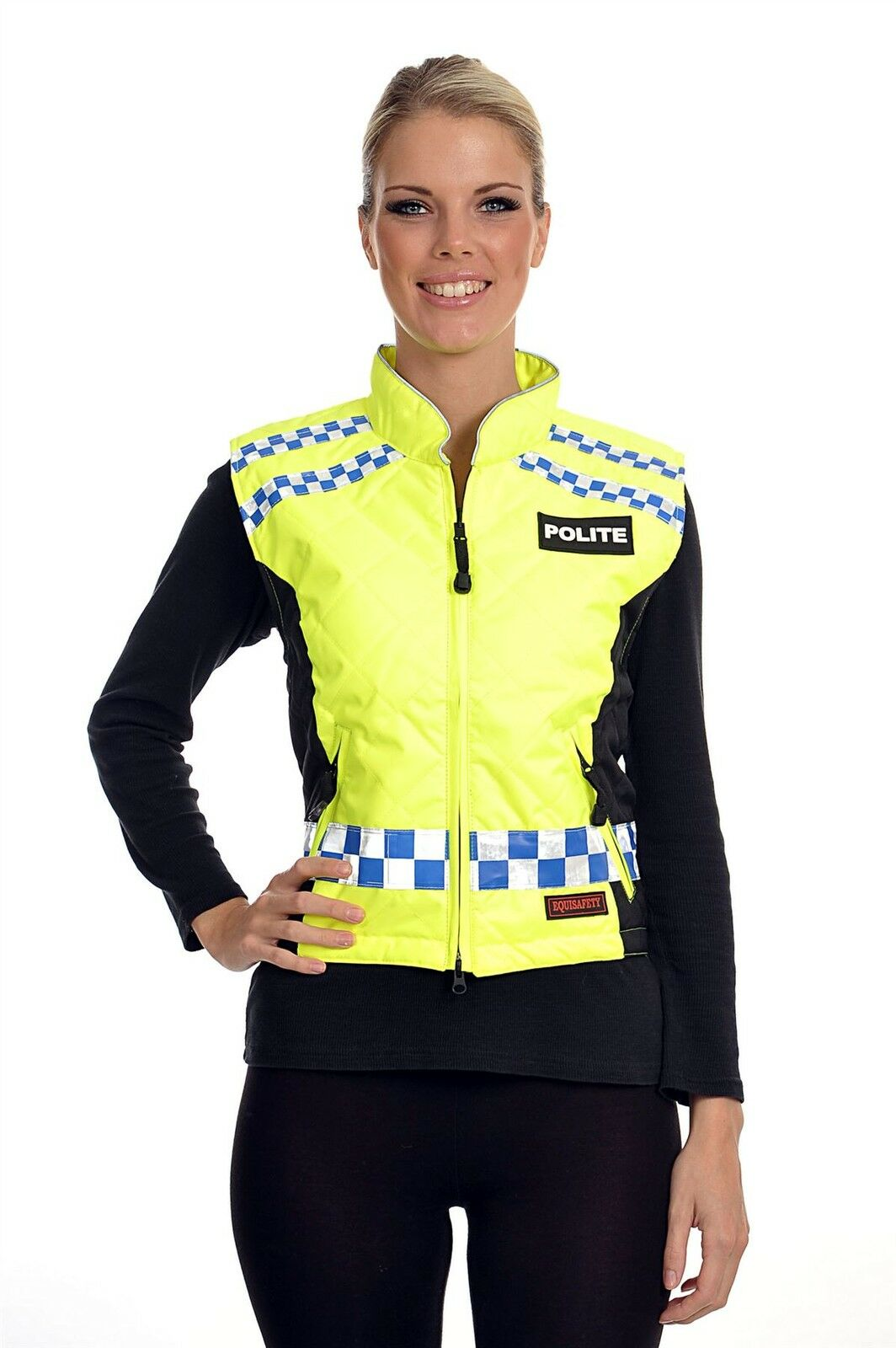 EQUISAFETY POLITE QUILTED GILET PLEASE SLOW DOWN DOWN DOWN EQUINE HORSE RIDER SAFETY WEAR 8f4e76