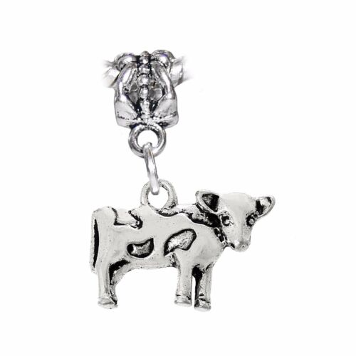 Cow Farm Animal Dairy Milk Beef Dangle Charm for European Bead Slide Bracelets