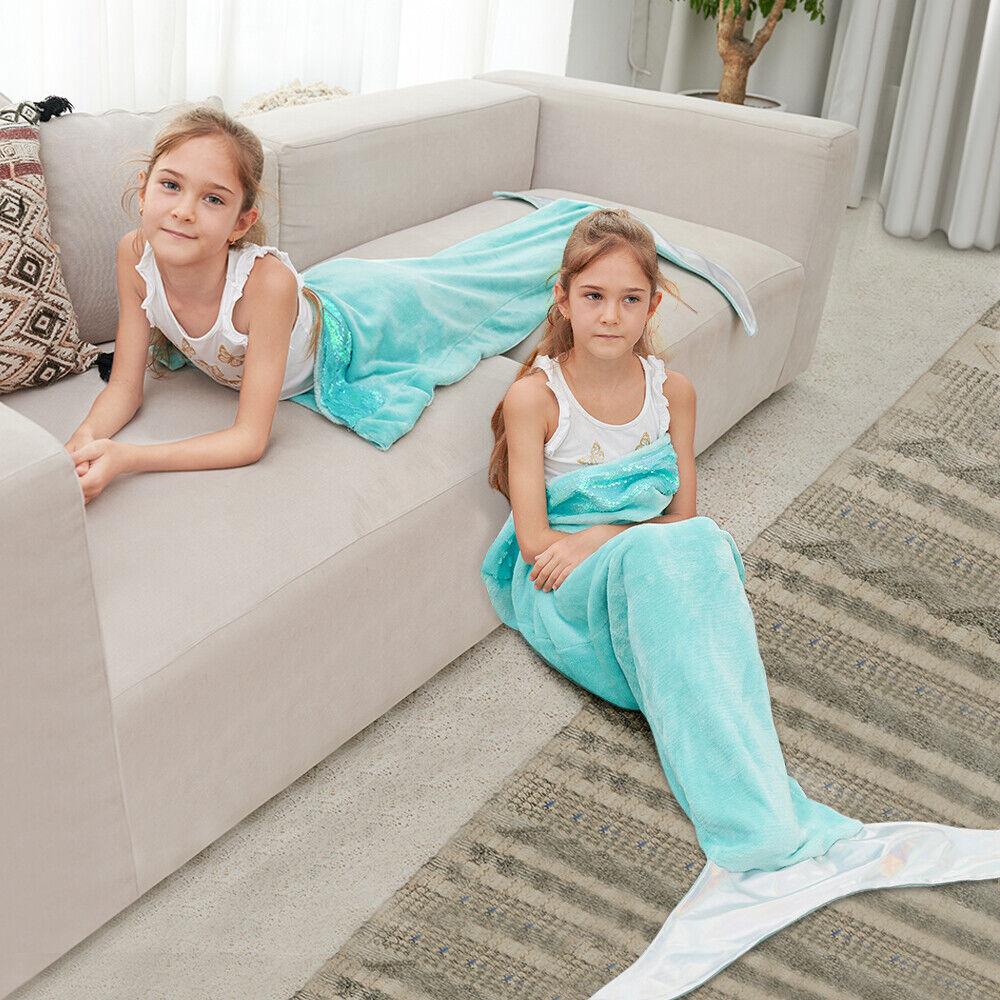 Adult Kid Fish Mermaid Scale Crocheted Soft Sofa Blanket Knit Girls Warm Gifts