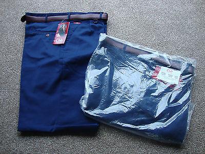 """2 (due) Paia Nuovi Fedeli Club Gamma Smart Casual Lavoro Pantaloni 40"""" """"tall Blu Navy- Rapida Dissipazione Del Calore"""