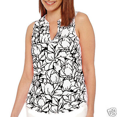 PXL New Navy Floral Liz Claiborne Sleeveless Ruffle Blouse Size PS