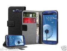 Negro De Cuero Cartera Flip Funda Pouch Para Samsung I9300 Galaxy S3 S Iii
