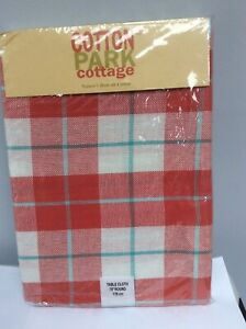 """Cotton Park Cottage Tablecloth ~ Concord Plaid Burgundy Green ~ 70/"""" Round**NEW**"""