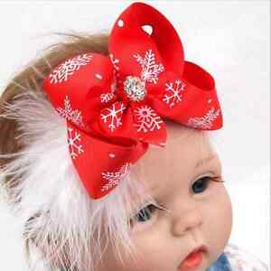 53b4f17854c Red Cute Baby Toddler Girls Christmas Bow Feather Headband Hairband ...