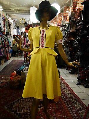 Collegio Favori Couture Abito Vento-giallo Peplum Abito Estivo True Vintage Mod 60s-mostra Il Titolo Originale