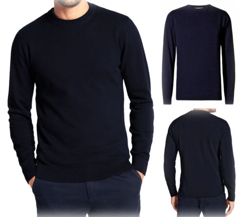Nouveau Ex m/&s Homme Bleu Marine Coton Pull à encolure ras-du-cou à manches longues Pull Pullover S /& L