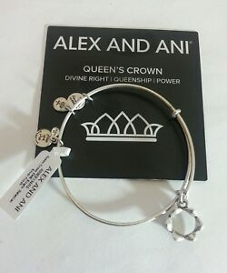 Details About Alex And Ani Queen S Crown Bangle Bracelet Nwt Box Card R Silver Retired Charm 1