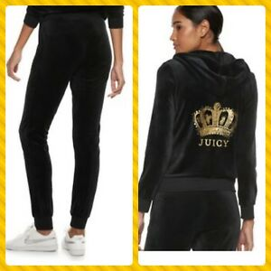 7fe20e7f New Women's Juicy Couture Tracksuit Black Velour Hoodie Pants 2pc ...