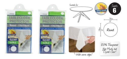 2 Transparent Plastic Tablecloth Cover Protector PVC Clear ROUND 178cm Brand New