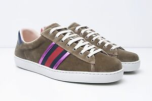 GUCCI-560-Authentic-New-Beige-Velvet-Ace-Low-Top-Sneakers