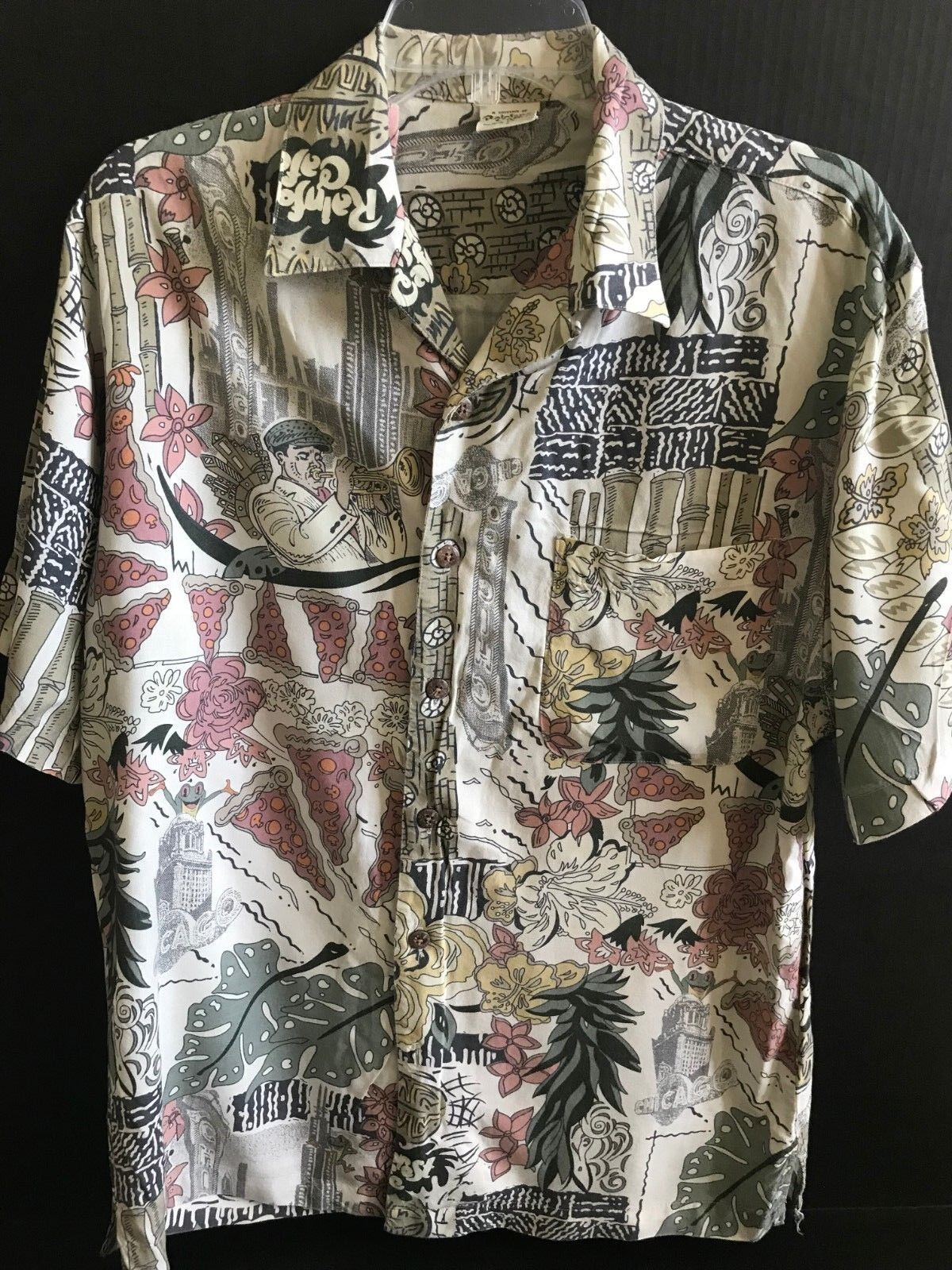 Rainforest Cafe Chicago Themed Souvenir Uomo's Souvenir Themed Hawaiian Shirt Size Small b2e92e