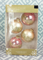 Jaclyn Smith Set 4 Glass Christmas Ornaments Pink Glitter Gold Glimmer Glisten