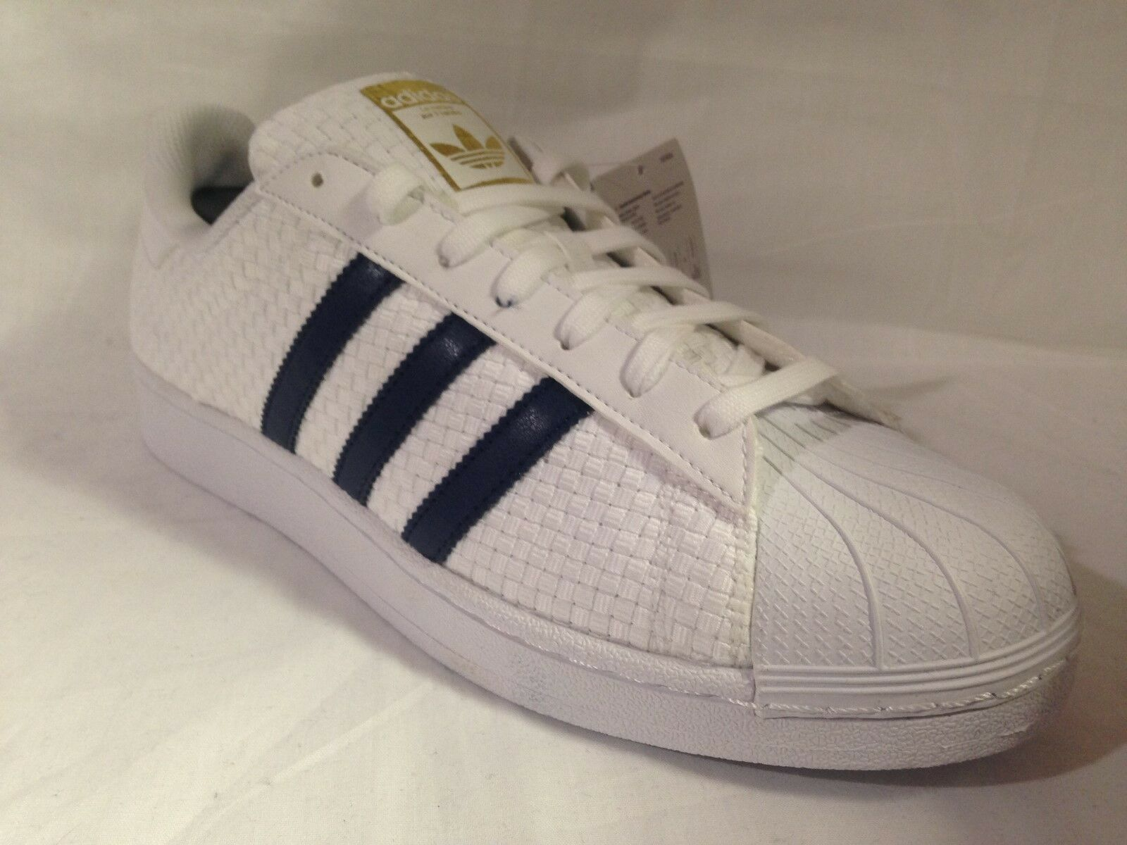 Uomo Adidas Superstar Weave 6.5_8_9.5_10_11.5 WEISS/Navy/Gold BA8493 Größes: UK 6.5_8_9.5_10_11.5 Weave 174243